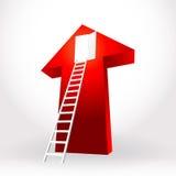 白色台阶梯子打开在大红色的门成功事务 图库摄影