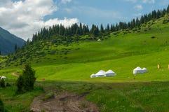 白色吉尔吉斯yurtas和一座美丽的山环境美化 免版税库存照片