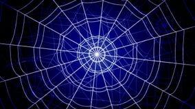 白色同心蜘蛛网在蓝色背景急剧跳跃并且黏附 股票录像