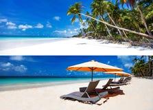 白色含沙热带海滩的两个horisontal图象拼贴画  免版税库存照片