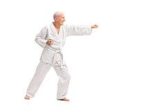 白色和服实践的空手道的老人 库存照片