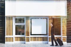 白色和木咖啡馆门面,被定调子的海报 免版税图库摄影