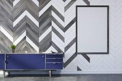 白色和木客厅,海报,壁橱 库存例证