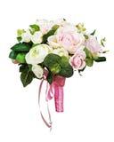 从白色和桃红色玫瑰的美丽的婚礼花束 库存图片