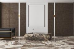 白色和棕色客厅,大理石地板,海报 免版税库存图片