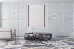 白色和棕色客厅,灰色大理石,海报 库存照片