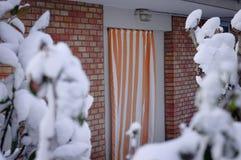 白色和橙色镶边帷幕和砖墙在一棵多雪的植物后 免版税库存图片