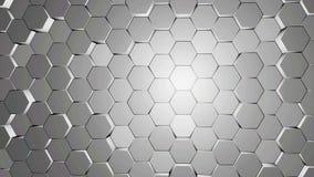 白色和灰色六角形背景纹理运动视频 3d回报六角形 库存例证
