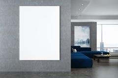 白色和灰色客厅内部,海报,墙壁 向量例证