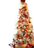 白色和红色圣诞树 免版税库存图片