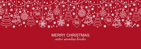 白色和红色无缝的雪花倒栽跳水,圣诞节 免版税库存图片