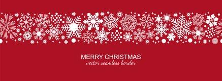 白色和红色无缝的雪花边界,圣诞节 图库摄影