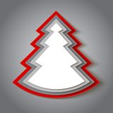 白色和红色纸圣诞树 图库摄影