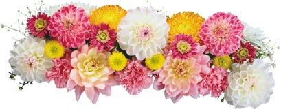 白色和红色花美丽的花束在一个花瓶的在白色 免版税图库摄影