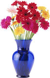 白色和红色花美丽的花束在一个花瓶的在白色 库存图片