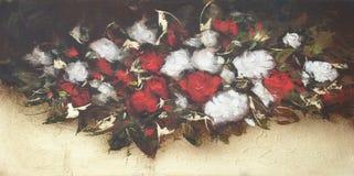 白色和英国兰开斯特家族族徽,手工制造绘画 免版税图库摄影