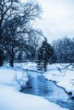 白色和蓝色冬天风景 免版税库存照片