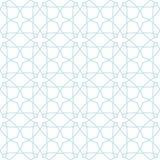 白色和蓝色几何装饰品 无缝的模式 免版税图库摄影
