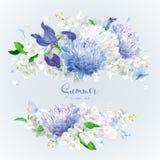 白色和蓝色夏天开花花束 库存例证