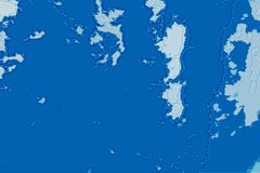 白色和蓝色抽象背景纹理 与北部海岸线,海,海洋,冰,山,云彩的幻想地图 图库摄影