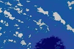 白色和蓝色背景纹理 与北部海岸线,海,海洋,冰,山,云彩的抽象地图 库存例证