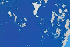 白色和蓝色背景纹理 与北部海岸线,海,海洋,冰,山,云彩的抽象地图 皇族释放例证
