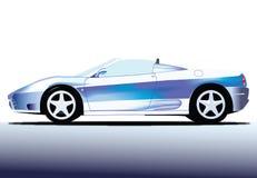 白色和蓝色跑车 图库摄影
