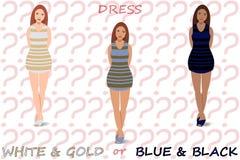 白色和金子或者蓝色和黑色礼服 免版税图库摄影