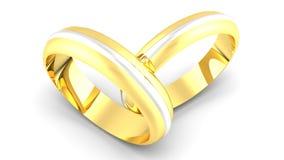 白色和金银铜合金婚戒 免版税库存图片