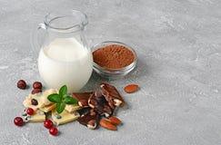 白色和黑暗的巧克力块的成份当可可粉、整个榛子、蔓越桔、杏仁和牛奶 免版税库存图片