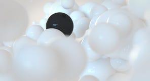 白色和黑泡影-球形-抽象云彩概念 库存图片