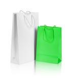 白色和绿色礼物袋子 免版税库存图片