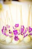 白色和紫色糖果 免版税库存照片