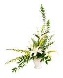 白色和绿色花花束 免版税库存照片