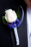 白色和紫色钮扣眼上插的花 免版税库存图片