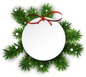 白色圆的纸圣诞卡。 向量例证