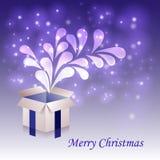 白色圣诞节开放箱子、雪和闪烁秋天从一个礼物盒有透明背景 向量例证
