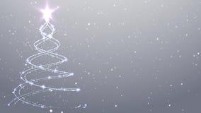 白色圣诞节快乐背景雪落的圣诞树 股票视频