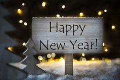 白色圣诞节树,文本新年快乐 免版税库存照片
