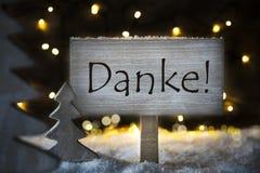 白色圣诞节树, Danke手段感谢您 图库摄影