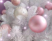 白色圣诞节树细节 库存照片