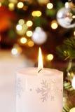 白色圣诞节蜡烛 图库摄影