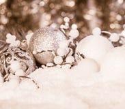 白色圣诞节装饰 库存图片