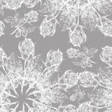 白色在灰色背景的图表玫瑰色雪花 无缝花卉的模式 库存照片