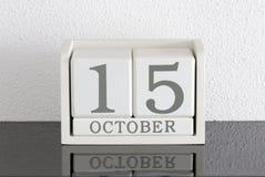 白色块日历礼物日期15和月10月 免版税库存图片