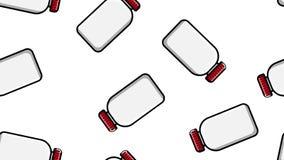 白色塑料医疗pharmacetic瓶子无缝的样式纹理有药物,在白色背景的药物盒盖的  ?? 皇族释放例证