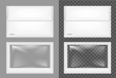 白色塑料或纸包装 纸板信封 库存例证