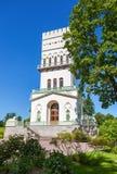 白色塔在Tsarskoe Selo普希金Alexandrovsky公园  免版税库存照片
