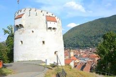 白色塔,中世纪设防在布拉索夫, Transilvania 库存照片