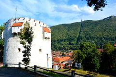 白色塔,布拉索夫, Transilvania 库存图片